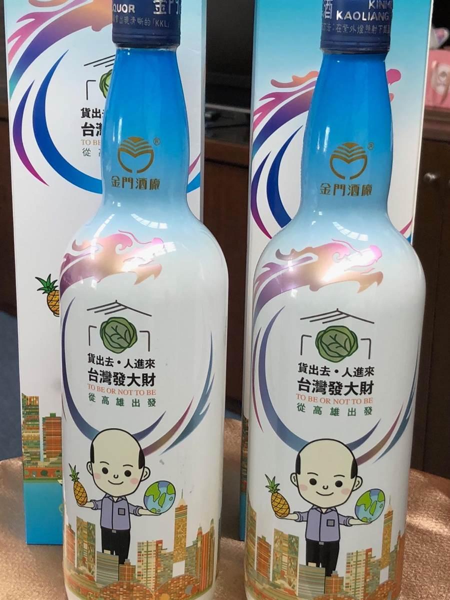 「韓國瑜市長金門高粱酒」每瓶售價780元,預期首批20萬瓶將造成韓粉搶購,掀起新一波熱潮。(李金生攝)
