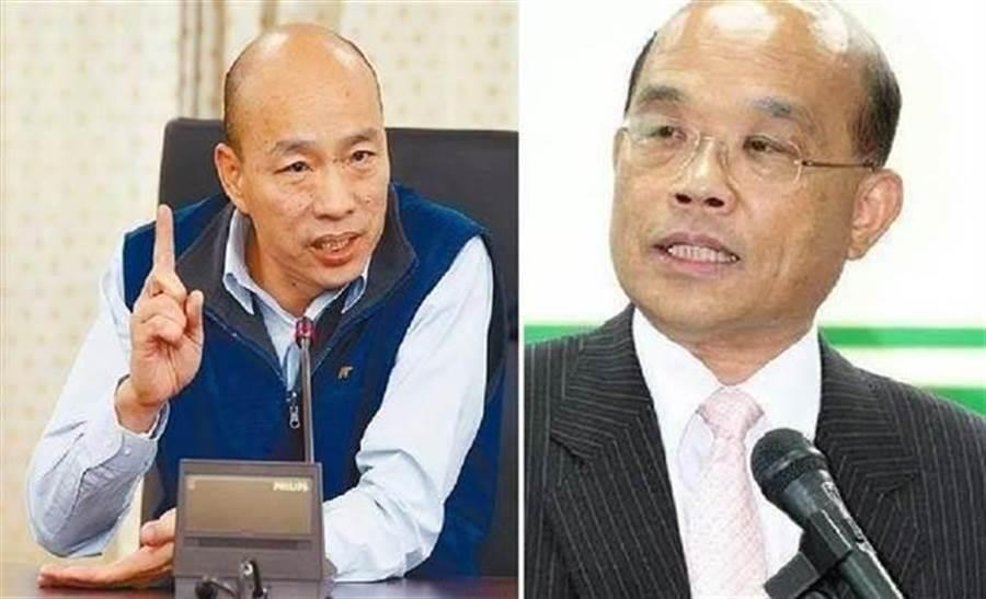 高雄市長韓國瑜(左)、行政院長蘇貞昌(右)。(圖/合成圖,本報資料照)