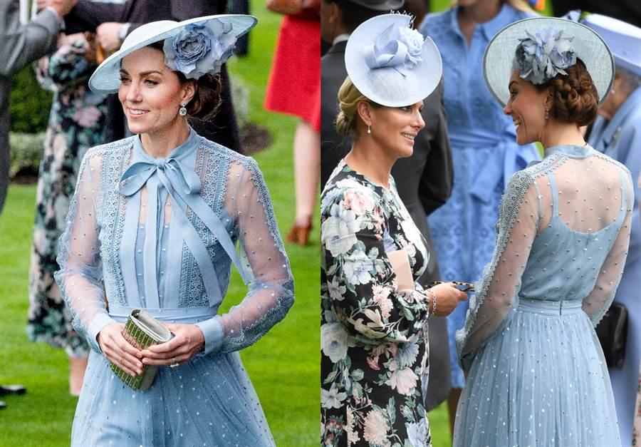凱特王妃身穿Elie Saab寶藍色透視長洋裝現身賽馬會,相當性感優雅。(圖/達志影像)