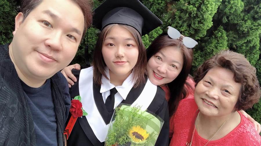 劉爾金(左起)、女兒、太太及岳母。