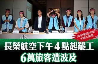 《中時晚間快報》長榮航空下午4點起罷工 6萬旅客遭波及