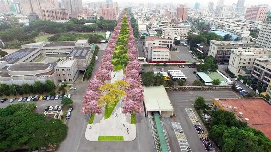 高雄鐵路地下化之後,原本的軌道地面,將成為綠園道,兩旁的住宅或店家,也將後院變門庭,都市景觀將大變身。圖:高雄都發局提供