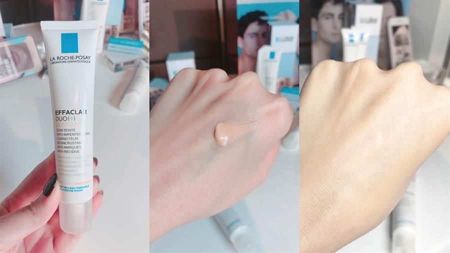 淨痘無瑕極效精華潤色版是痘痘肌也能用的潤色乳,可看出使用後(右圖)手背的青筋和小瑕疵都被修飾了。(圖/邱映慈攝影)