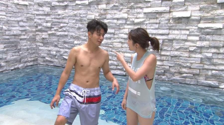郭彥均、巴鈺猜拳搶著游泳、享受SPA。(中天提供)