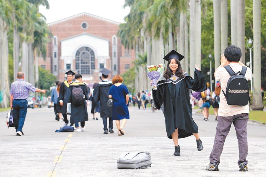 英國高等教育機構QS昨公布2020世界大學排名,台大排行69名,比去年進步3名。圖為台大畢業典禮,不少畢業生在椰林大道留影。(本報資料照片)