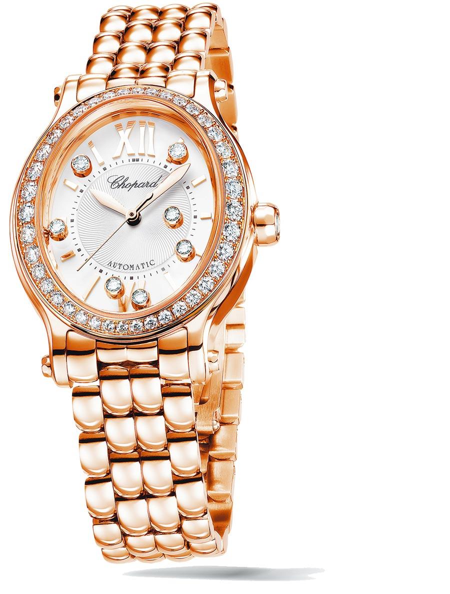 玫瑰金款式,配備鑲鑽錶圈。