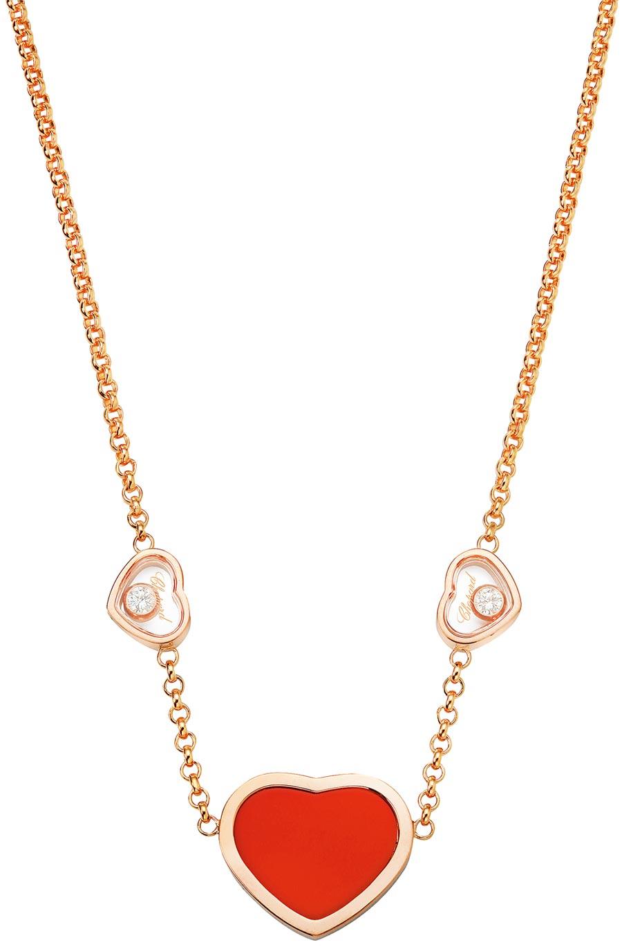 Happy Hearts系列18K玫瑰金項鍊,珊瑚材質,搭配兩顆滑動鑽石。