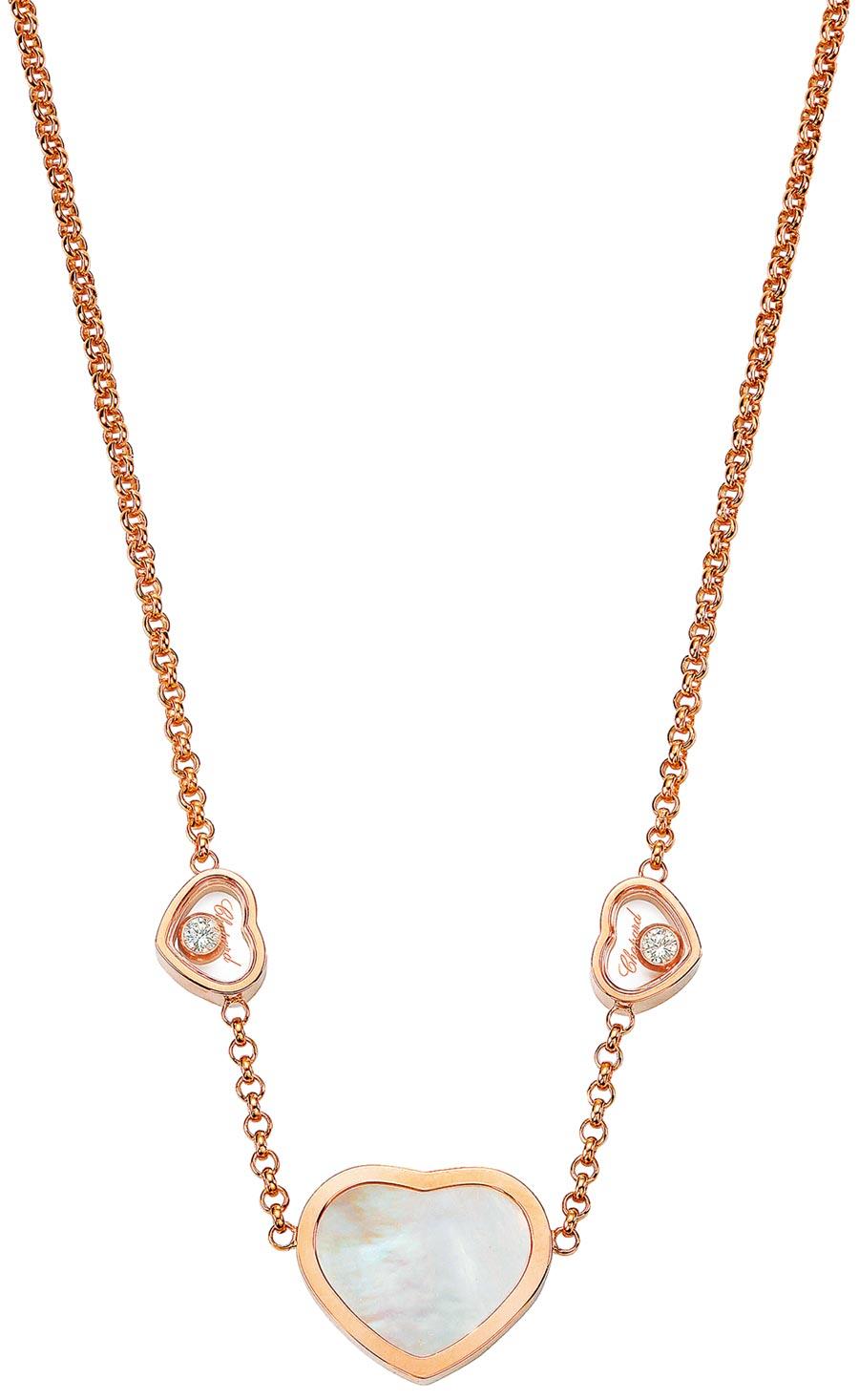 Happy Hearts系列18K玫瑰金項鍊,珍珠母貝材質,搭配兩顆滑動鑽石。