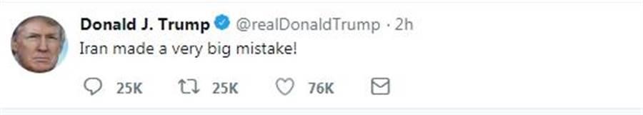美國總統發推表示:伊朗犯下了大錯.
