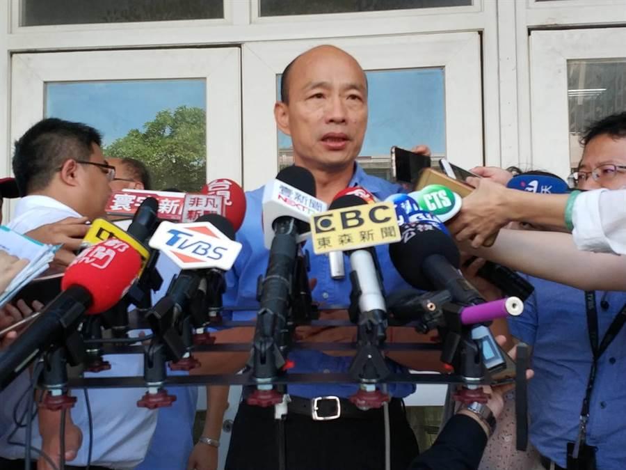 針對蘇貞昌的「凱子說」,高雄巿長韓國瑜21日回應他覺得語帶嘲諷。(曹明正攝)