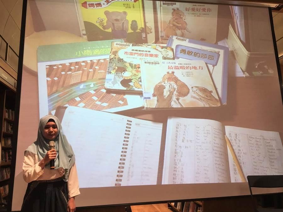 印尼移工賈娜分享在台工作與學習中文的經歷。(北市府提供)