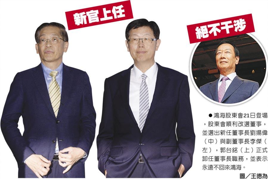 鴻海股東會21日登場,股東會順利改選董事,並選出新任董事長劉揚偉(中)與副董事長李傑(左),郭台銘(上)正式卸任董事長職務,並表示永遠不回來鴻海。圖/王德為