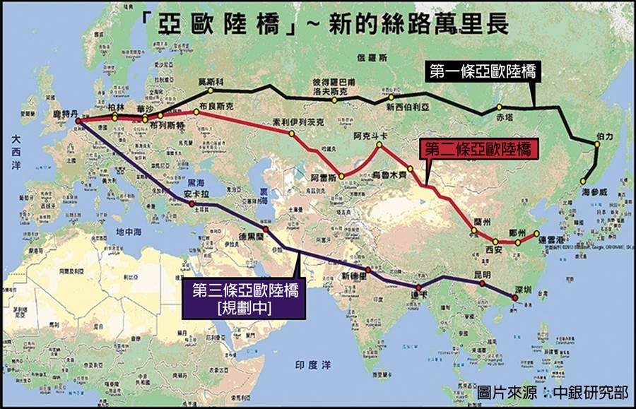 如果歐亞陸橋能夠完成,從東亞到歐洲的陸運時間,將比海運要縮短2/3。(圖/海上絲路協會)