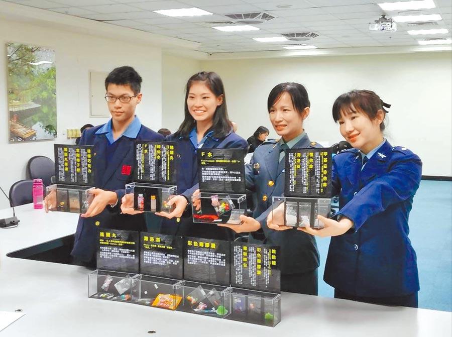 桃園市全面發放高中職以下新興毒品擬真模型盒供各校當教材。(桃園市政府教育局提供)