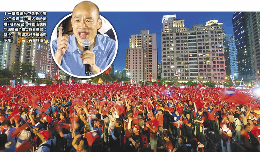 韓國瑜臺中造勢大會22日登場,20萬名韓粉擠爆7期豪宅區,韓國瑜晚間到場帶領全體支持者高唱〈堅持〉,現場亮起手機燈海呼應。(黃國峰攝)