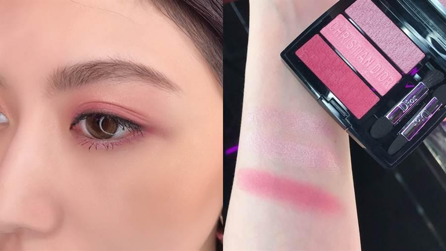 迪奧訂製三色眼影盤#853 Rosy Canvas粉玫瑰。(圖/邱映慈攝影)