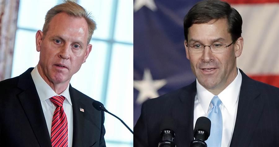 原本的代理國防部長夏納漢((左),因9年前的家庭糾紛而離職,改由爭議更少的艾斯博(右)接替,這是川普的妥協,避免再有爭議。(圖/美聯社)