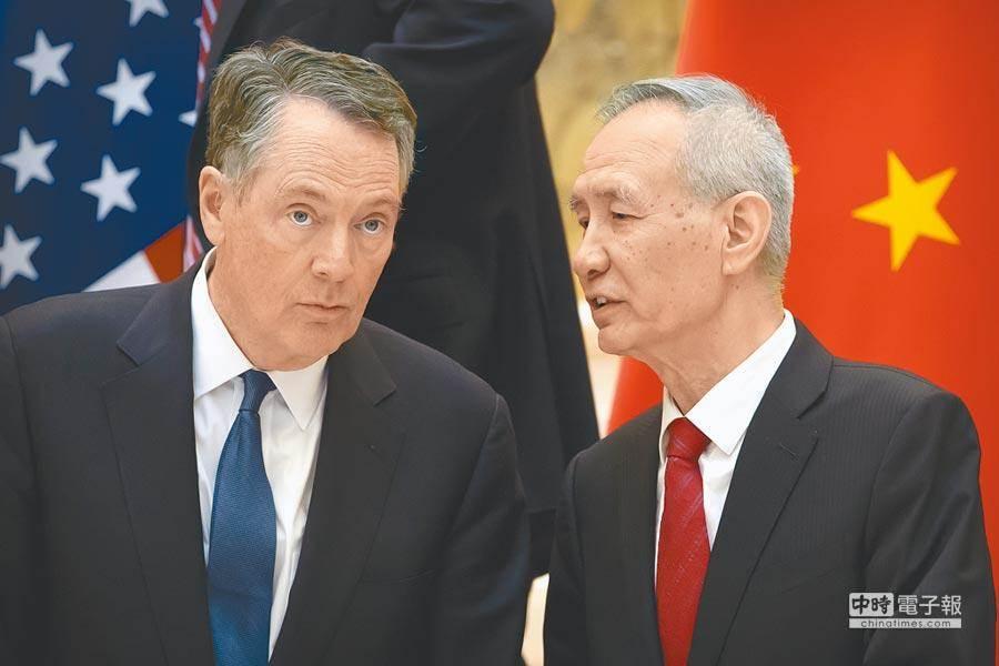 大陸副總理劉鶴(右)率。(美聯社)
