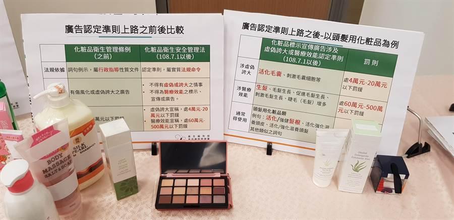 食藥署今(25)日公布七月新制,將化妝品廣告認定正式入法,若廣告涉及虛偽、誇大、醫療效能等,最高開罰500萬元罰鍰。(郭建志攝)
