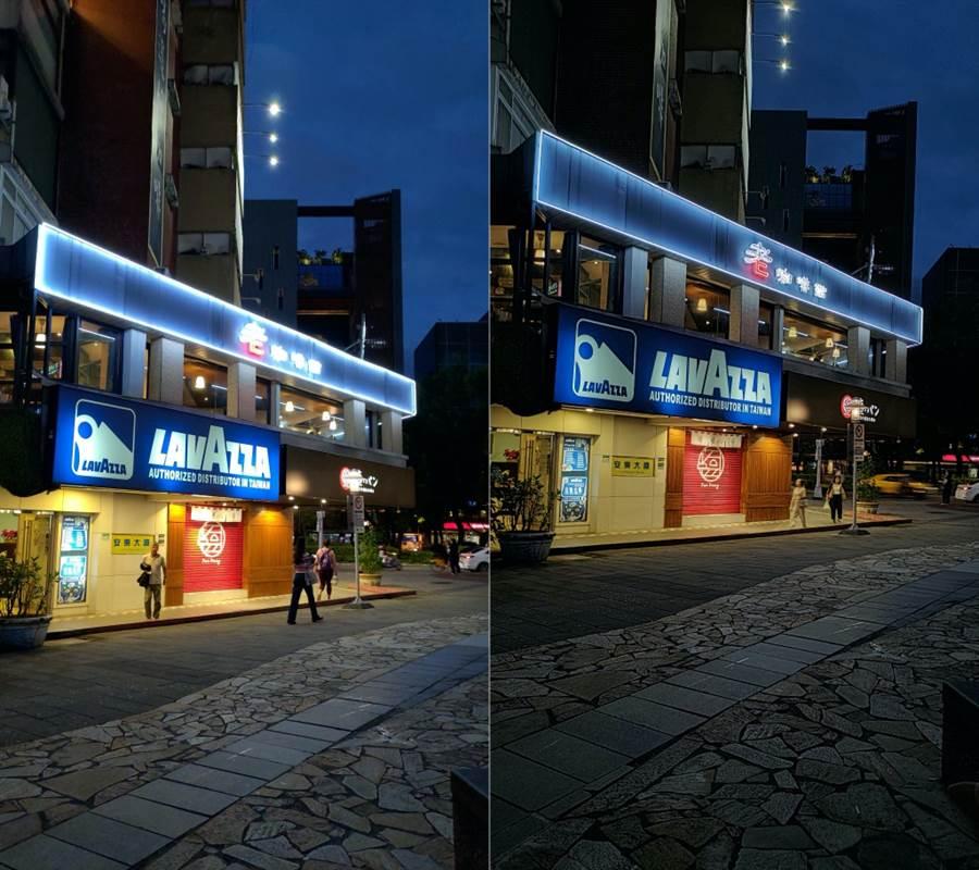 ZenFone 6 夜間自動拍攝功能(左)與夜景功能對比。(圖/黃慧雯攝)