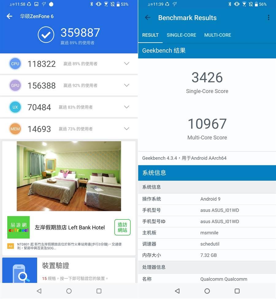ASUS ZenFone 6 在安兔兔評測(左)以及Geekbench 4 的跑分成績。(圖/黃慧雯攝)
