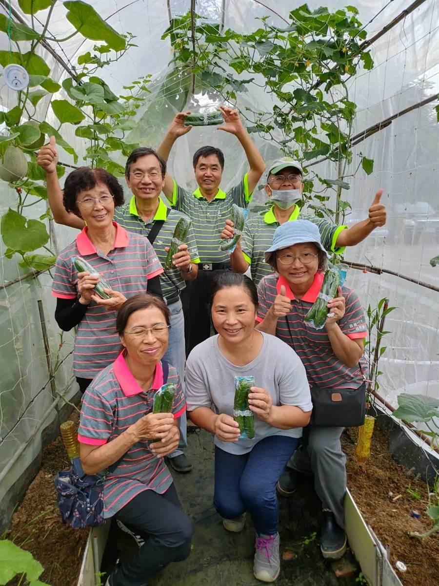 嘉市社大「自然農法分享班」學員在2坪大的網室種植小黃瓜及洋香瓜,25日辦桌慶豐收。 (張亦惠攝)