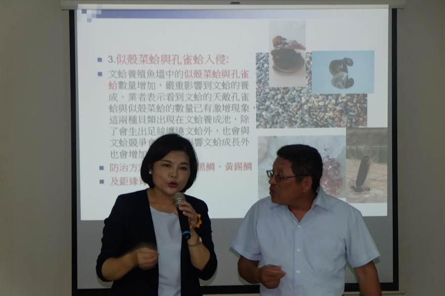 台西文蛤異常死亡,張麗善(左)率學者專家與漁民座談。(張朝欣攝)