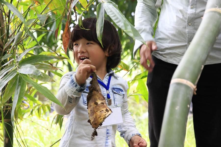 小朋友體驗挖竹筍活動,下田挖到新鮮竹筍,開心展示給陪同的爸媽看。(王文吉攝)