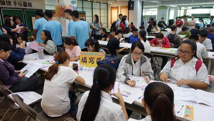 台南市政府勞工局25日舉辦「2019就業暨暑期工讀徵才活動」,有35家廠商釋出989個職缺,其中包括175個暑期工讀及兼職職缺,新營高工校方也帶領65位學生前來,讓現場出現「背著書包打工去」的有趣畫面。(莊曜聰攝)