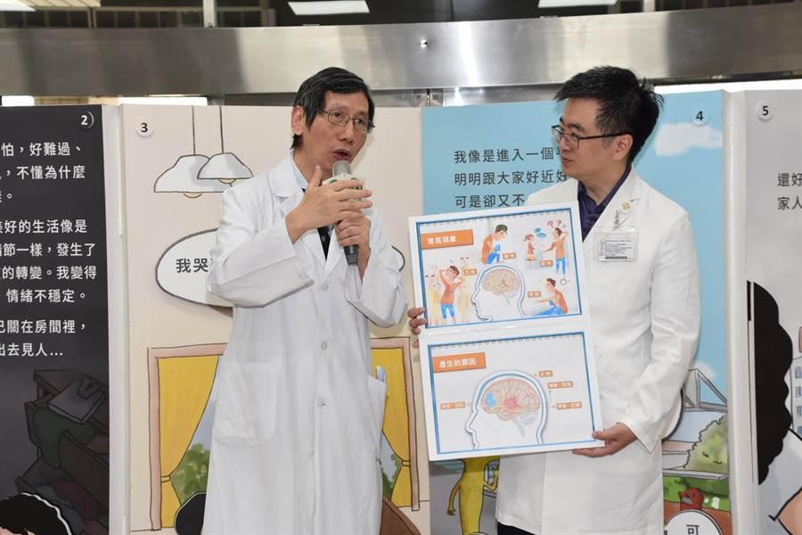 彰基副院長劉青山(左)強調,思覺失調症患者需要社會大眾的關懷,也需要更多人為他們發聲。(謝瓊雲攝)