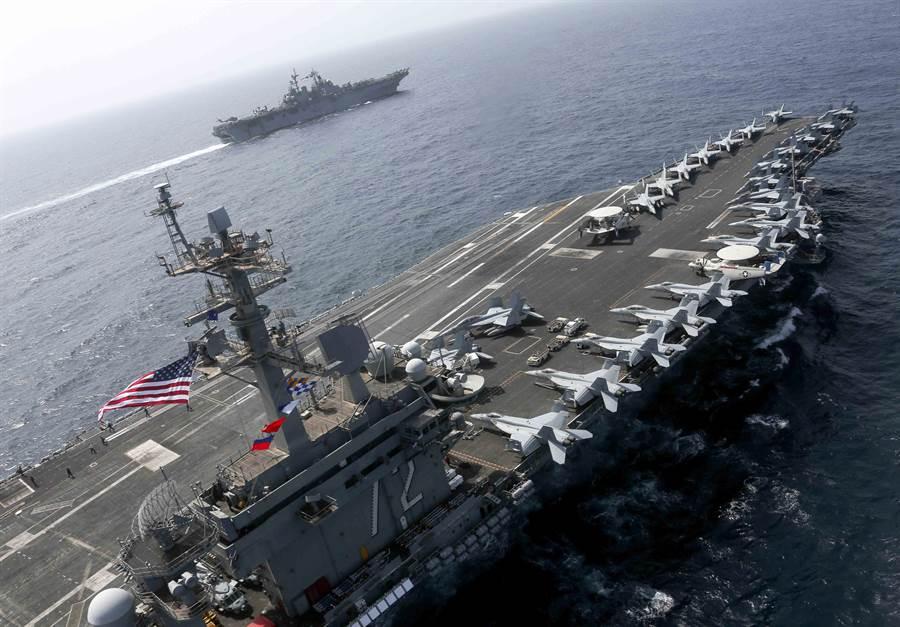 美國林肯號航母戰鬥群部署到阿拉伯海,對伊朗施壓。(圖/美國海軍)