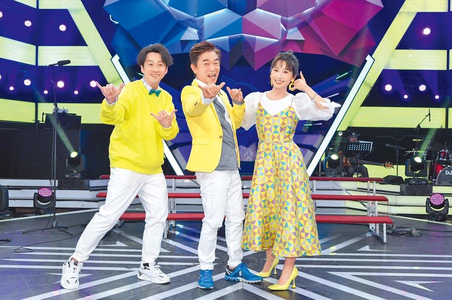 陳漢典(左起)、吳宗憲、Lulu昨慶祝《綜藝大熱門》6周年。