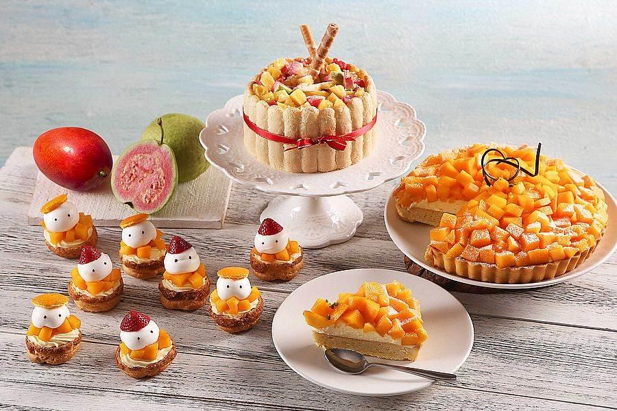 左至右為芒果脆皮泡芙、鳳梨紅芭樂夏洛特、芒果杏仁派。(圖取自活動官網)