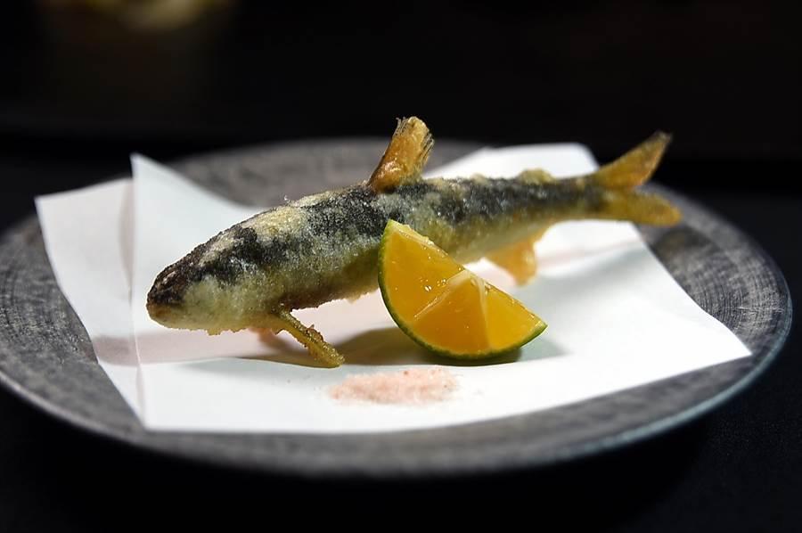 坊間許多標榜OMAKASE無菜單的日本料理店多主攻壽司,〈初魚料亭〉套餐全套一律都是13道菜,且有冷有熱、有生有熟,圖為以天婦羅手法炸製的九州小香魚。(圖/姚舜)
