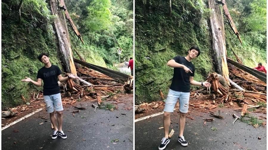 鍾政均今早在深山遇檜木斷裂。經紀人提供