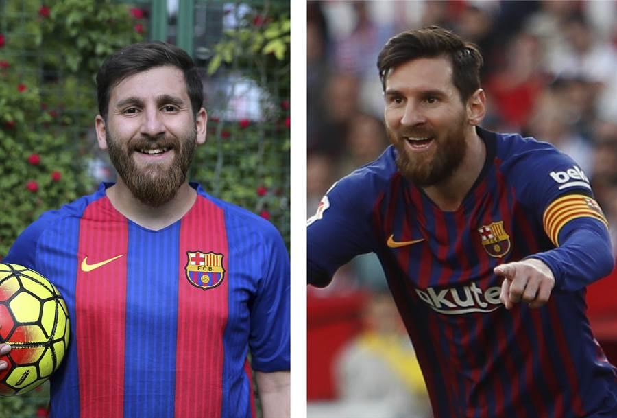 同時穿上巴薩球衣,能分得出來哪個是真梅西(右圖)、哪個是假梅西(左圖)嗎?(資料照/美聯社)