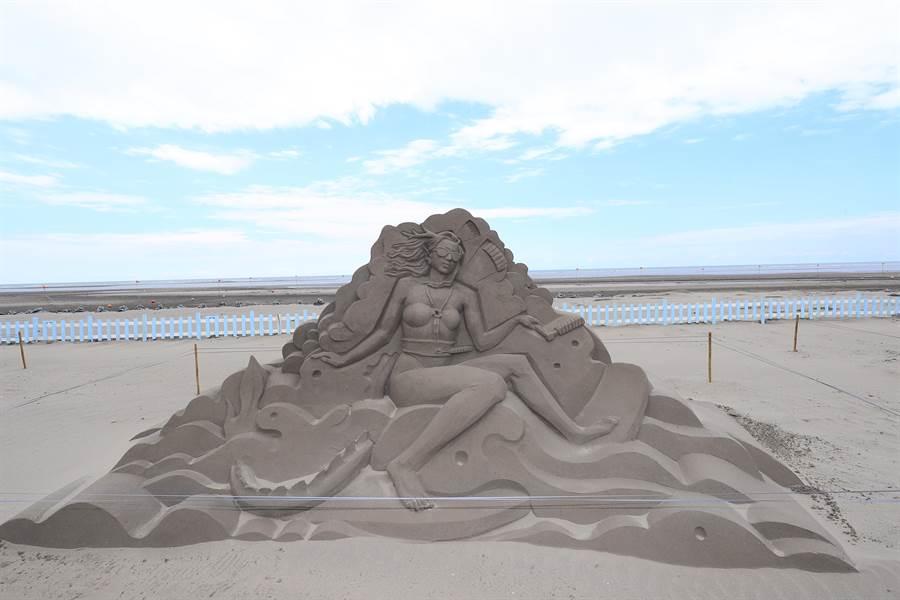大安沙雕音樂季動員11位沙雕師,完成18座精緻的3D沙雕作品,呈現海陸生態、海神故事等意象。(王文吉攝)