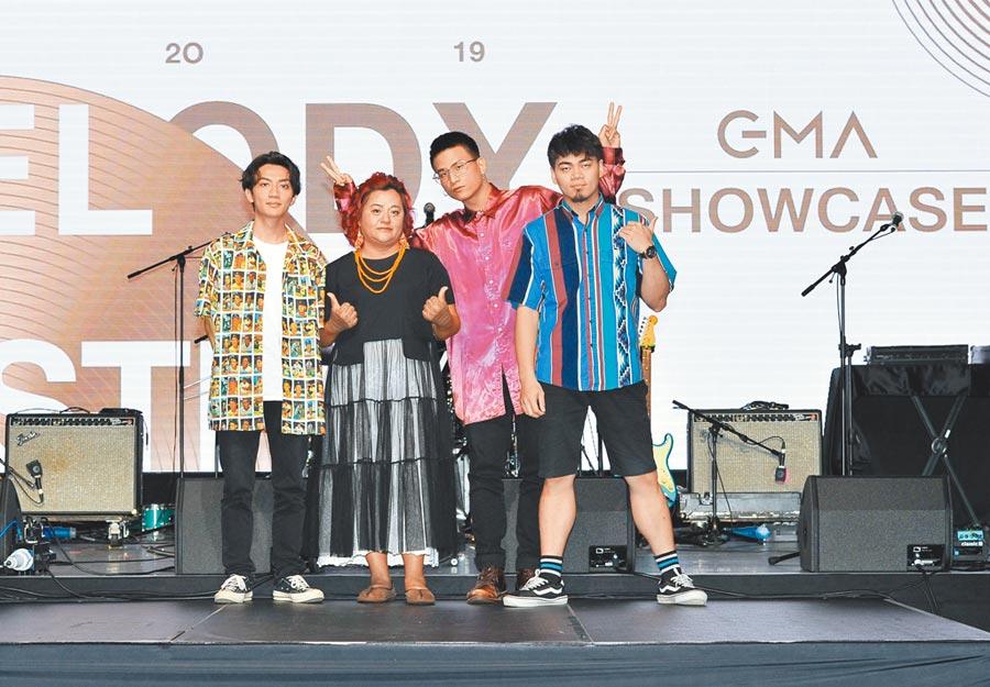 桑梅絹(左二)、茄子蛋昨出席金曲國際音樂節Showcase彩排記者會。