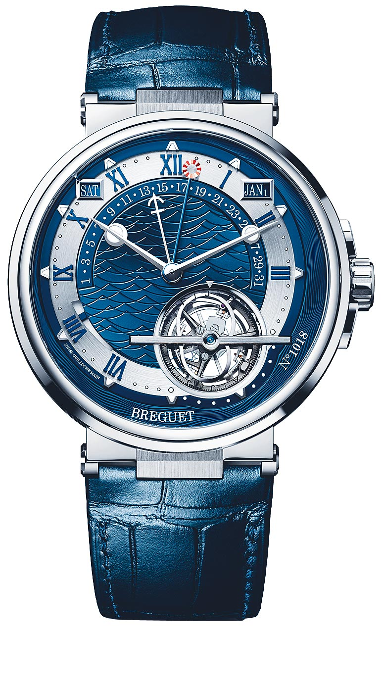 寶璣Marine Tourbillon Equation Marchante 5887航海系列時間等式陀飛輪萬年曆腕表,743萬1000元。(Breguet提供)