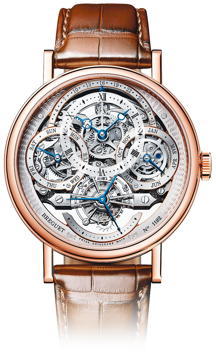 寶璣Classique Tourbillon Quantieme Perpetuel 3795經典系列萬年曆鏤空陀飛輪腕表,776萬1000元。(Breguet提供)