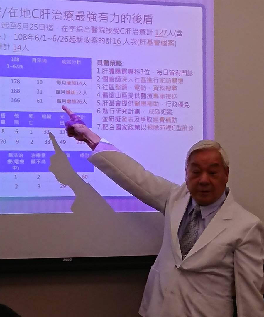 李綜合醫院總裁李順安希望配合政府根除苑裡的C肝。(陳志祥攝)