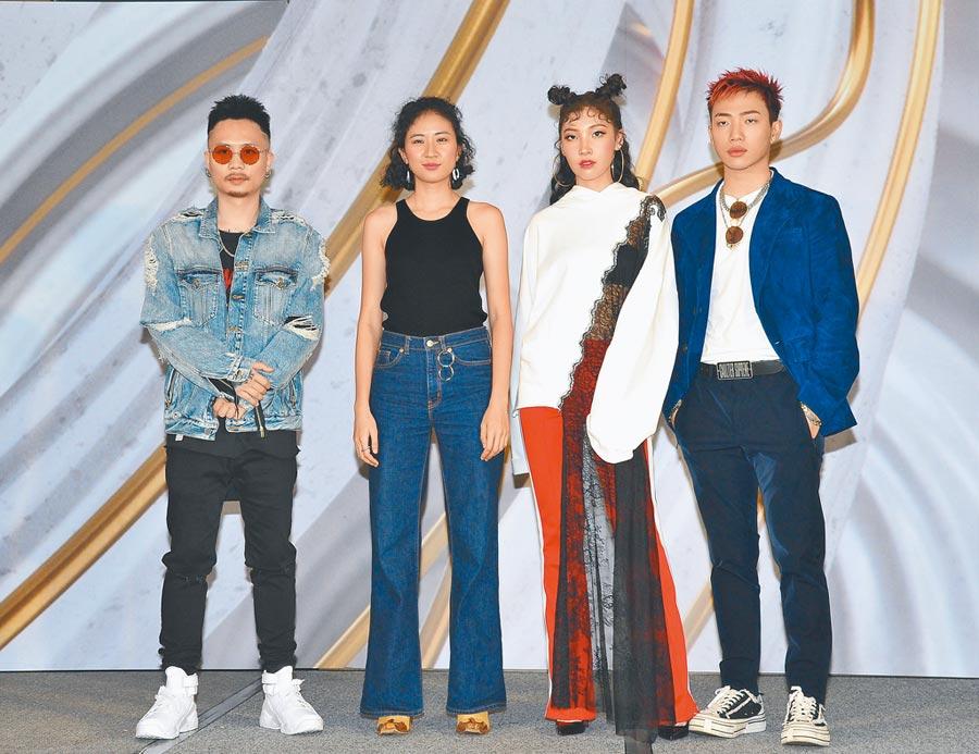 蕭秉治(左起)、9m88、Karencici、ØZI昨出席GMA 2019金曲國際音樂節開幕記者會。