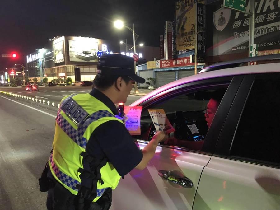 台中市警察局將連續3日實施「酒駕大執法」,利用「封鎖式」或「分散式」路檢及「巡邏」等勤務方式,全面執行取締酒駕。(張妍溱翻攝)