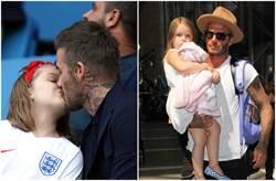 「嘴對嘴」親吻女兒惹議 貝克漢嗆:愛的表現