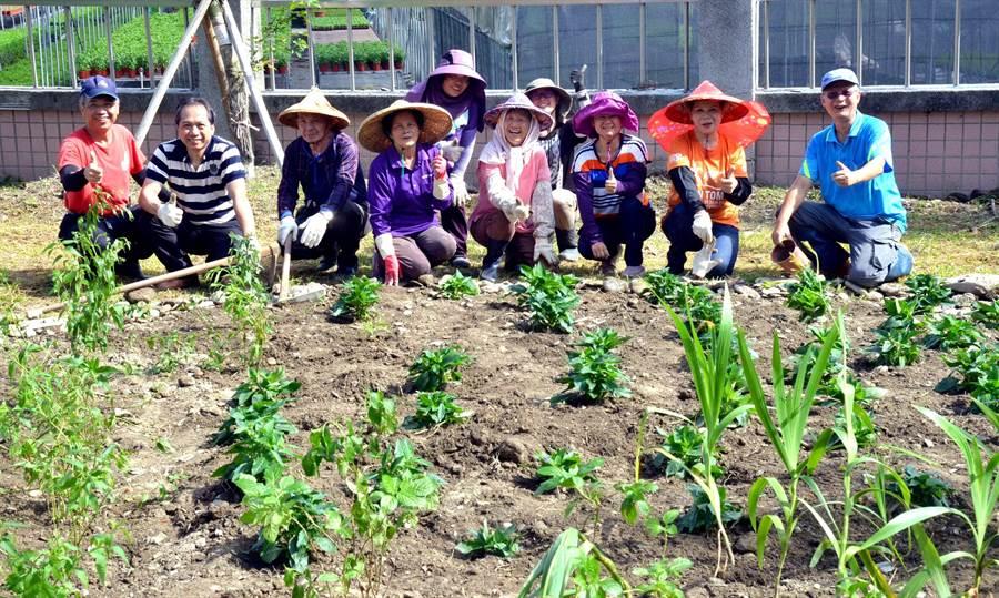 ▲志工們歡欣在中榮埔里分院完成蜜源植物種植,除增加蝴蝶棲地,並營造美麗空間景觀。(新故鄉提供)