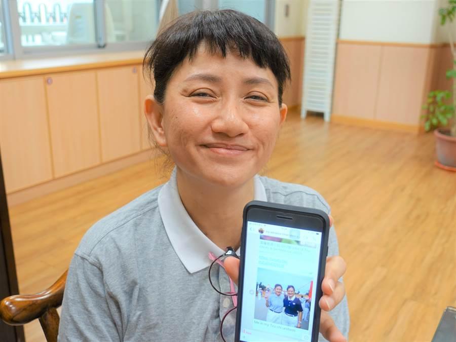 謝碧環把自己參加活動的照片加上文字,分享給親朋好友,介紹慈濟。(圖/慈濟基金會提供)