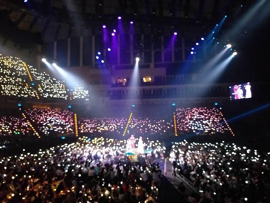 S.H.E.金曲表演時,台下觀眾揮舞螢光套環,讓表演更溫馨。(林宜靜 攝)