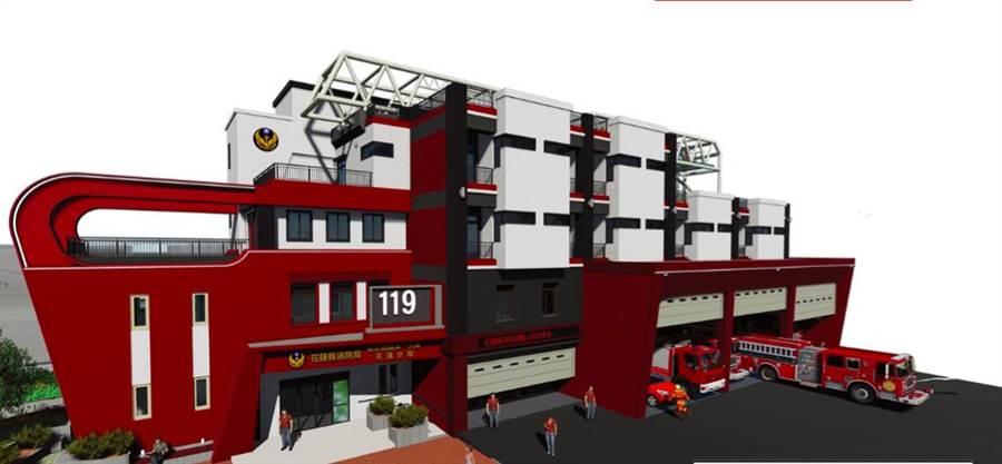 花蓮縣消防第一大隊新建廳舍外觀宛如消防雲梯車。(許家寧翻攝)