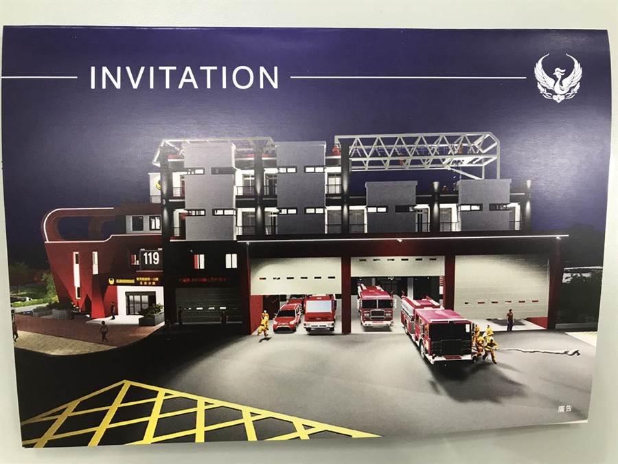 花蓮消防一分隊新廳舍為4層樓建物,可容納11台消防車和50人。(許家寧翻攝)