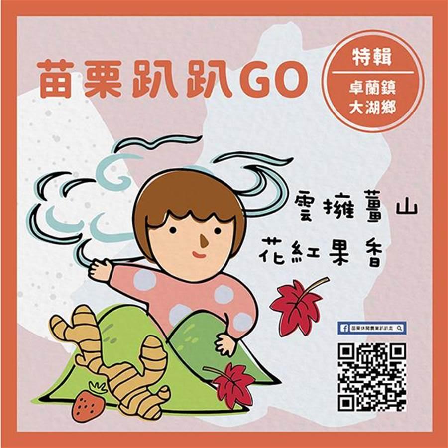 苗栗縣政府農業處推出「苗栗趴趴GO」旅遊路線,以插畫、EDM方式吸睛。(何冠嫻翻攝)